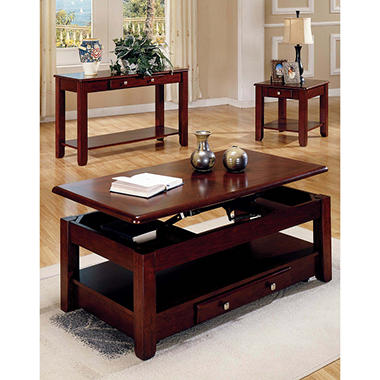 Logan Cherry Living Room Table Set - 4 pc.