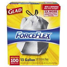 Glad 13 gal. ForceFlex Tall Kitchen Drawstring Trash Bags (100 ct.)