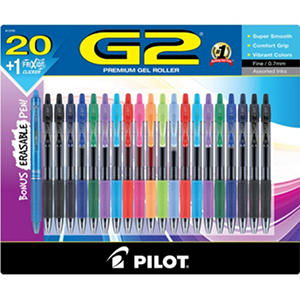 Pilot - G2 Premium Retractable Gel Ink Pen, Assorted Ink, .7mm -  20/Set