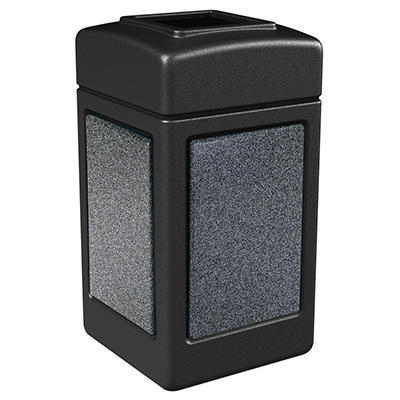 Commercial Zone StoneTec Waste Container, 42-gal, Polyethylene, Black with Pepperstone Panels