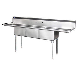 3 Bowl Prep Sink w/ 2 Drainboards - S.S. - 3C24-2D