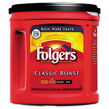 Folgers - Classic Roast Ground Coffee, 33.9 oz - 6 Canisters
