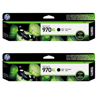 HP 970XL High Yield Original Ink Cartridge, Black (2 pk., 9,200 Page Yield)