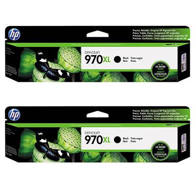 HP 970XL High Yield Original Ink Cartridge, Black (2 pk., 9,200 Page Yield)