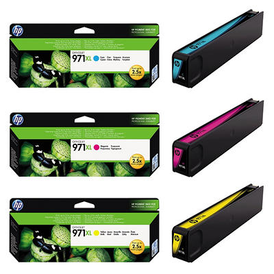 HP 971XL High Yield Original Ink Cartridge, Cyan/Magenta/Yellow (3 pk., 6,600 Page Yield)