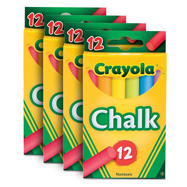 Crayola - Nontoxic Chalk, Assorted Colors, 12 Count - 12 Packs