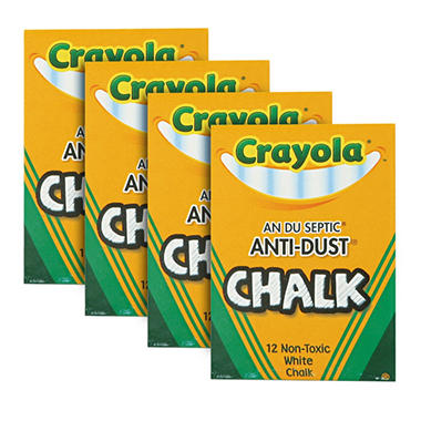 Crayola - Nontoxic Chalk, White, 12 Count - 12 Packs