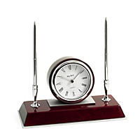 Bey-Berk Dresden Lacquered Rosewood Quartz Desk Clock with 2 Pens