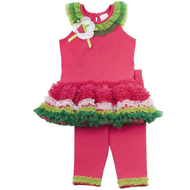 Emily Rose 2 Piece Tutu Capri Set - Watermelon
