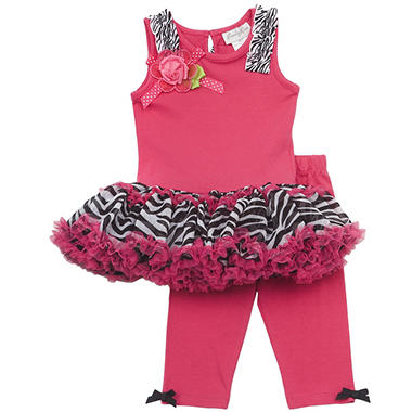 Emily Rose 2 Piece Tutu Capri Set - Zebra