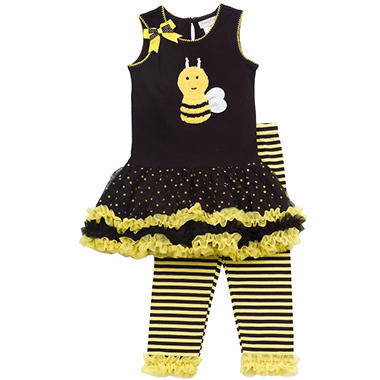 Emily Rose 2 Piece Tutu Capri Set - Black