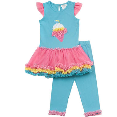 Emily Rose 2 Piece Tutu Capri Set - Aqua