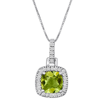 Cushion-Cut Peridot and Diamond Pendant in 14k White Gold