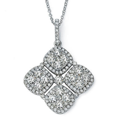 2.27 CT. T.W. Diamond Cluster Pendant with Chain in 14K White Gold