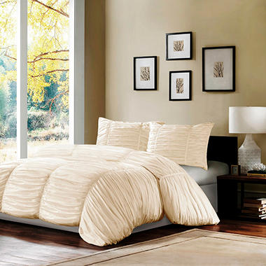 """Delancey"" 3 Piece Rouched Comforter Set"