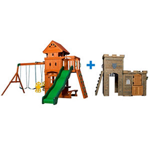 Monterey Cedar Swing Set and Windsor Castle Playhouse Bundle