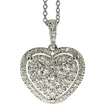 Click here for .84 CT T.W. Heart Shaped Diamond Pendant in 14K Wh... prices