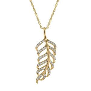.33 ct. t.w. Diamond Leaf Pendant in Yellow Gold