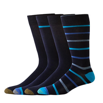 Gold Toe Premium Cotton 4 Pack Fashion Patterned Socks (Assorted Colors)