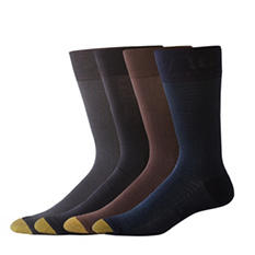 Gold Toe Mercerized Cotton 4 Pack Fashion Socks (Assorted Colors)