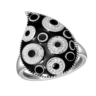 0.10 ct. t.w. Diamond and Black Enamel Celebrity Ring