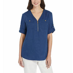 Ladies' Roll Tab Linen Tunic (Assorted Colors)