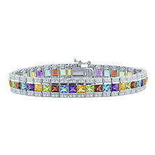 Gem RoManse Multi Gemstone Bracelet with Princess Cut Stones in Sterling Silver