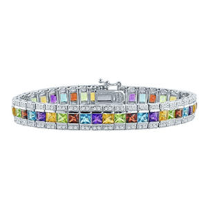 Gem RoManse Multi Gemstone Bracelet with Princess Cut Stones in Sterling Silver
