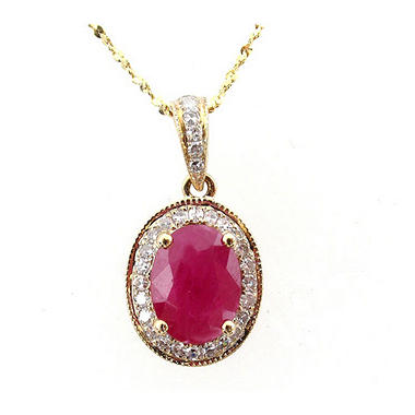 14K Composite Ruby & Diamond Pendant