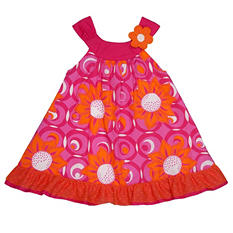 Girl's Pink and Orange Floral Spring Dress