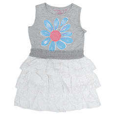 Girl's Grey and White Ruffle Dress