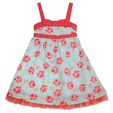 Girl's Blue and Coral Spring Dress