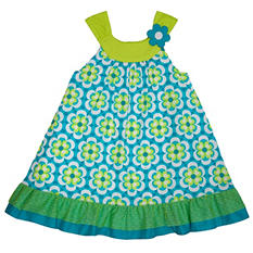 Girl's Blue and Green Floral Spring Dress