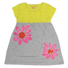 Girl's Yellow Crochet Knit Dress