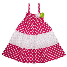 Girl's Pink and White Polka Dot Dress