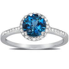 Round-cut London Blue Topaz Ring with Diamonds in 14K White Gold