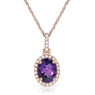 Oval-shaped Amethyst Pendant with Diamonds in 14K Rose Gold