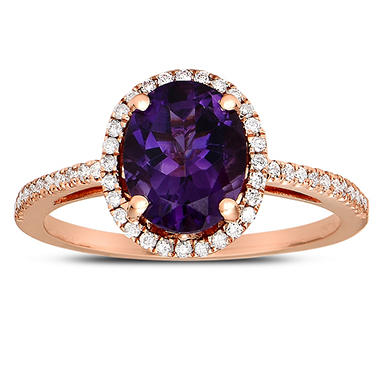 Oval-shaped Amethyst Ring with Diamonds in 14Kt Rose Gold