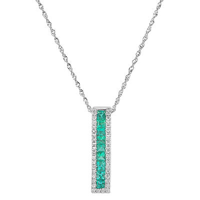 Princess-cut Emerald Pendant with Diamonds in 14K White Gold