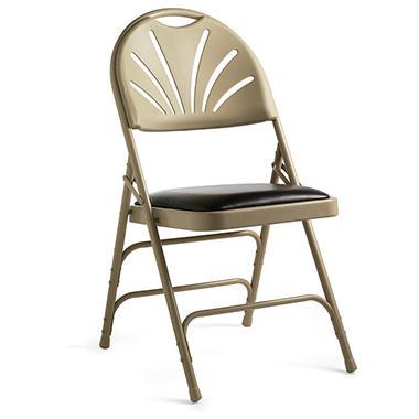 Samsonite - Bonded Leather & Memory Foam Fanback Folding Chair - Neutral/Chocolate - 4 Pack