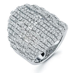 3.44 CT. T.W. Diamond Cascade Ring in 18K White Gold