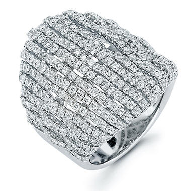 3.44 CT. T.W. Diamond Cascade Ring in 18K White Gold