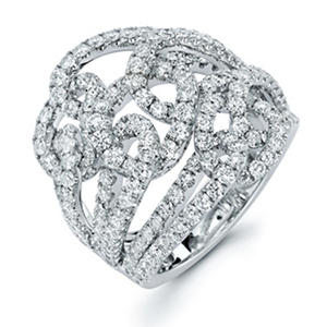 3.39 CT. T.W. Diamond Swirl Ring in 18K White Gold