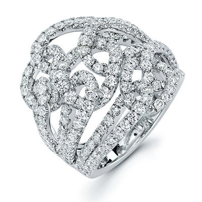 3.39 CT. T.W. Diamond Swirl Ring in 18K White Gold