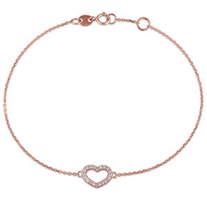 Diamond Heart Link Bracelet in 14k Rose Gold