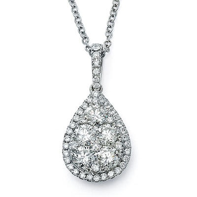 1.37 CT. TW. Diamond Pear-Shape Cluster Pendant with Chain in 14K White Gold