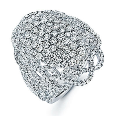 3.02 CT. T.W. Diamond Oval Weave Ring In 14K White Gold