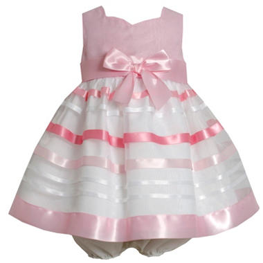 Pink Satin Stripe Organza Dress