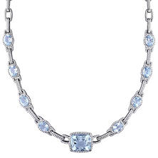 17.5 ct.  Aquamarine and 2.5 ct. t.w. Diamond Station Necklace in 14K White Gold