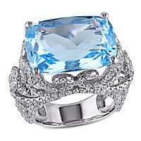 18 ct. Blue Topaz and 2.33 ct. t.w. Diamond Vintage Design Cocktail Ring in 14K White Gold